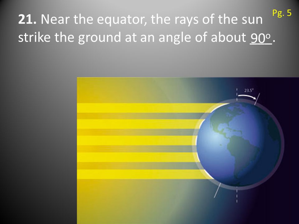 21. Near the equator, the rays of the sun strike the ground at an angle of about ___. 90 o Pg. 5