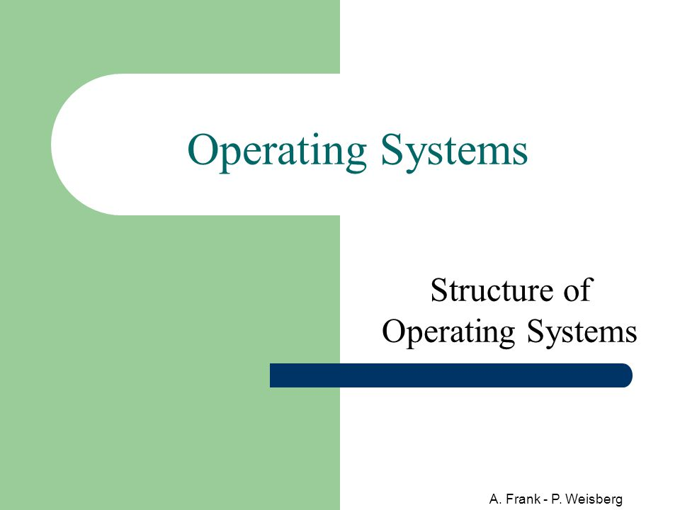 A. Frank - P. Weisberg Operating Systems Structure of Operating Systems