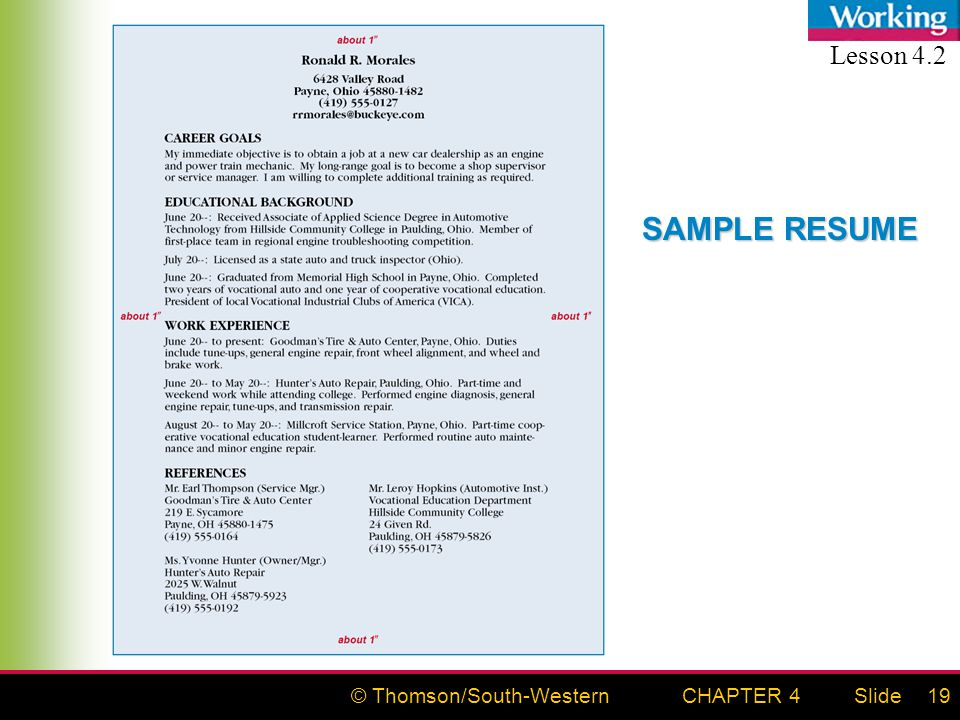 © Thomson/South-WesternSlideCHAPTER 419 SAMPLE RESUME Lesson 4.2