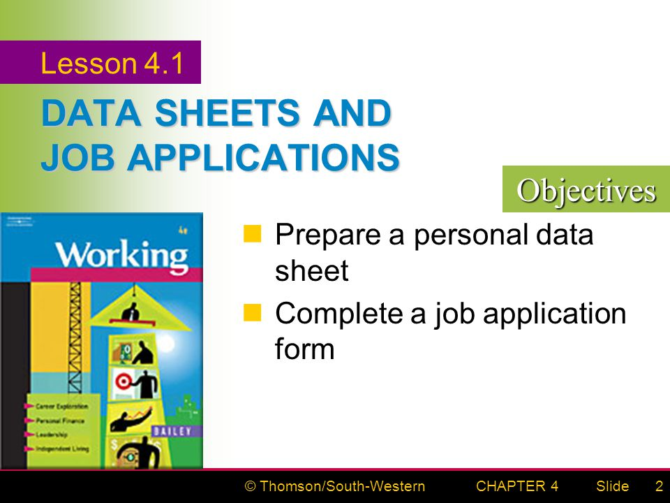 © Thomson/South-WesternSlideCHAPTER 42 DATA SHEETS AND JOB APPLICATIONS Prepare a personal data sheet Complete a job application form Lesson 4.1 Objectives