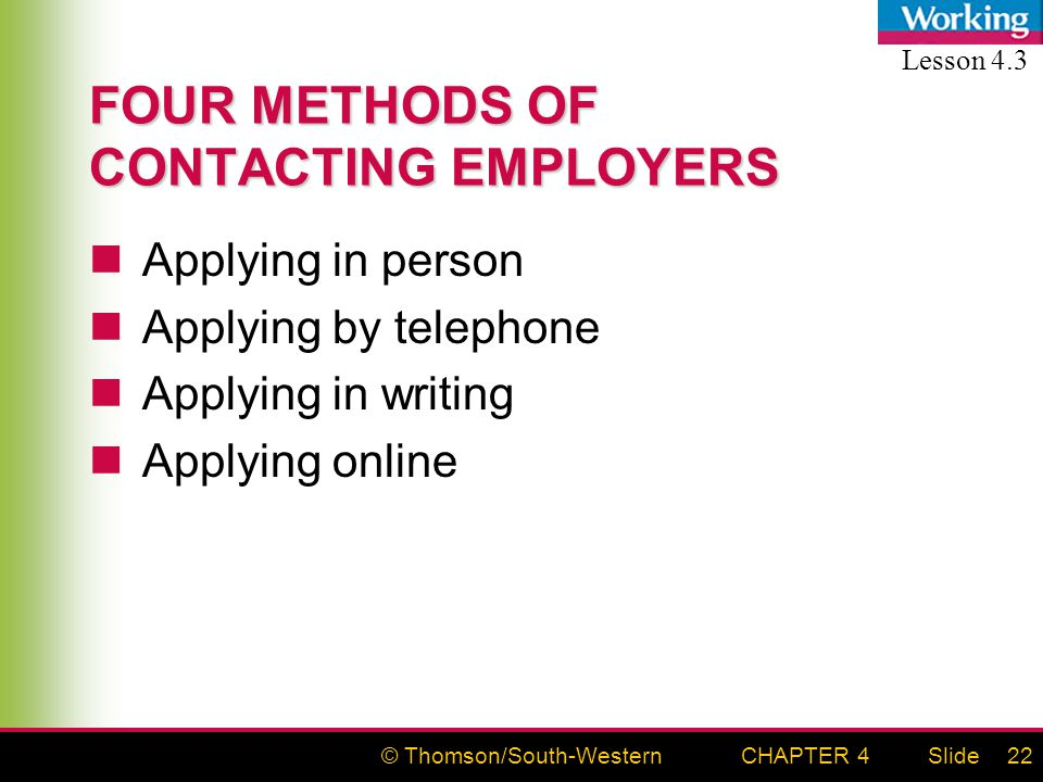 © Thomson/South-WesternSlideCHAPTER 422 FOUR METHODS OF CONTACTING EMPLOYERS Applying in person Applying by telephone Applying in writing Applying online Lesson 4.3