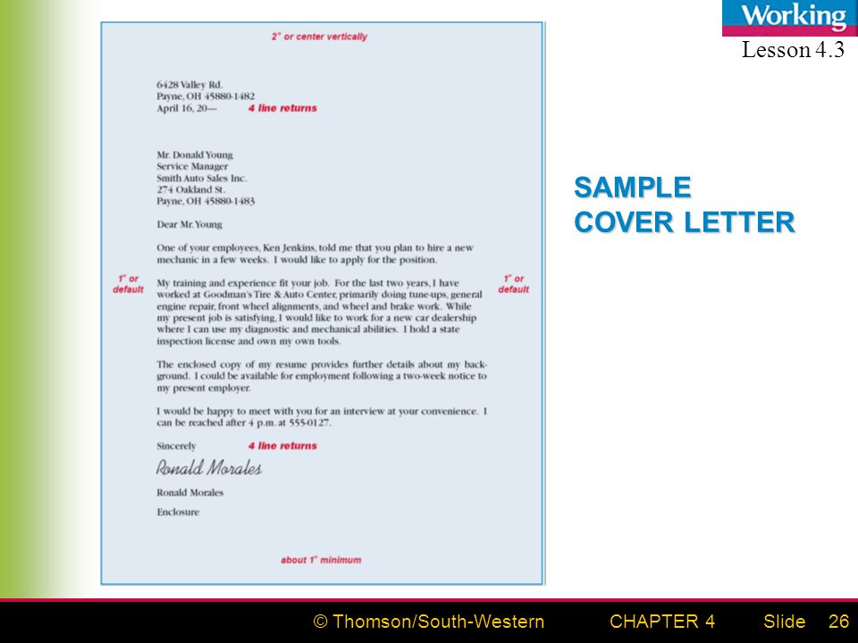 © Thomson/South-WesternSlideCHAPTER 426 SAMPLE COVER LETTER Lesson 4.3