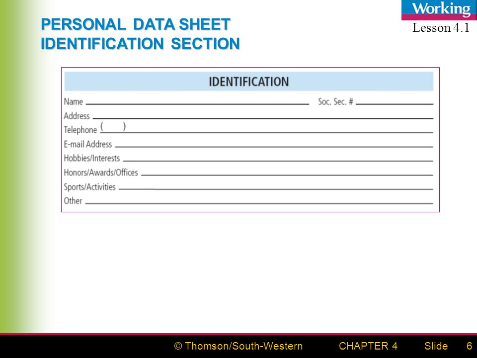 © Thomson/South-WesternSlideCHAPTER 46 PERSONAL DATA SHEET IDENTIFICATION SECTION Lesson 4.1