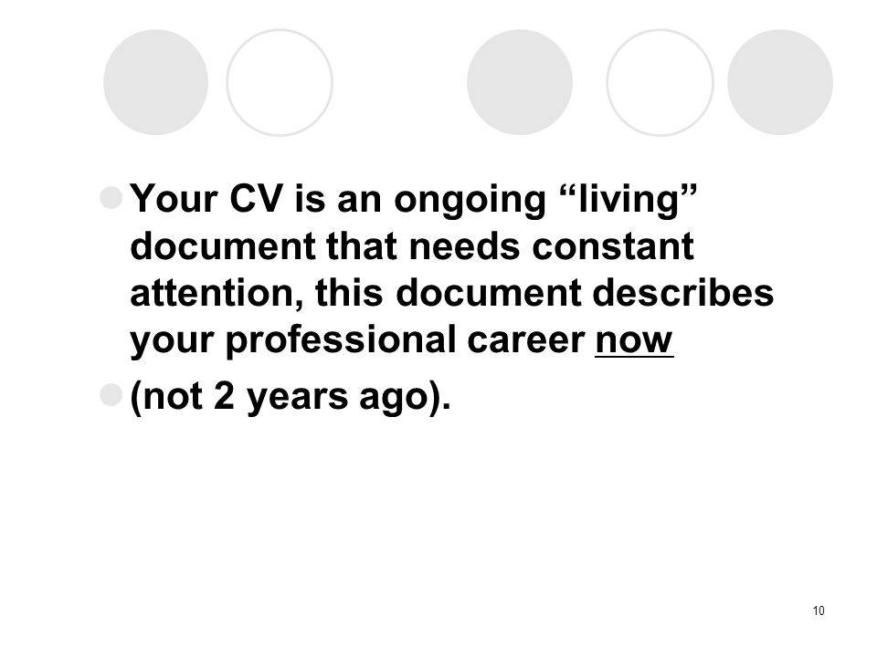 Your CV is an ongoing living document that needs constant attention, this document describes your professional career now (not 2 years ago).