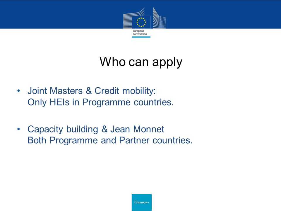 Date: in 12 pts Erasmus+ Who can apply Joint Masters & Credit mobility: Only HEIs in Programme countries.