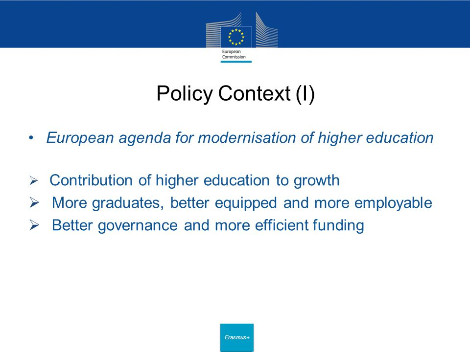 Date: in 12 pts Erasmus+ Policy Context (I) European agenda for modernisation of higher education  Contribution of higher education to growth  More graduates, better equipped and more employable  Better governance and more efficient funding