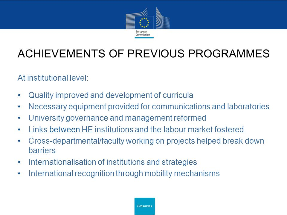 Date: in 12 pts Erasmus+ ACHIEVEMENTS OF PREVIOUS PROGRAMMES At institutional level: Quality improved and development of curricula Necessary equipment provided for communications and laboratories University governance and management reformed Links between HE institutions and the labour market fostered.