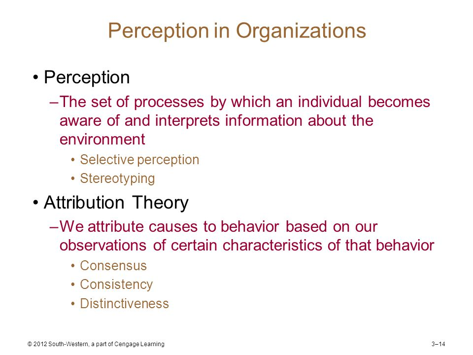 3–14 © 2012 South-Western, a part of Cengage Learning Perception in Organizations Perception –The set of processes by which an individual becomes aware of and interprets information about the environment Selective perception Stereotyping Attribution Theory –We attribute causes to behavior based on our observations of certain characteristics of that behavior Consensus Consistency Distinctiveness