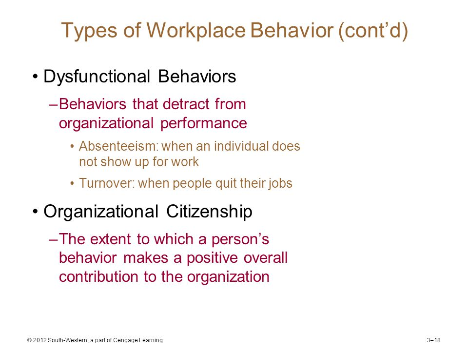3–18 © 2012 South-Western, a part of Cengage Learning Types of Workplace Behavior (cont'd) Dysfunctional Behaviors –Behaviors that detract from organizational performance Absenteeism: when an individual does not show up for work Turnover: when people quit their jobs Organizational Citizenship –The extent to which a person's behavior makes a positive overall contribution to the organization