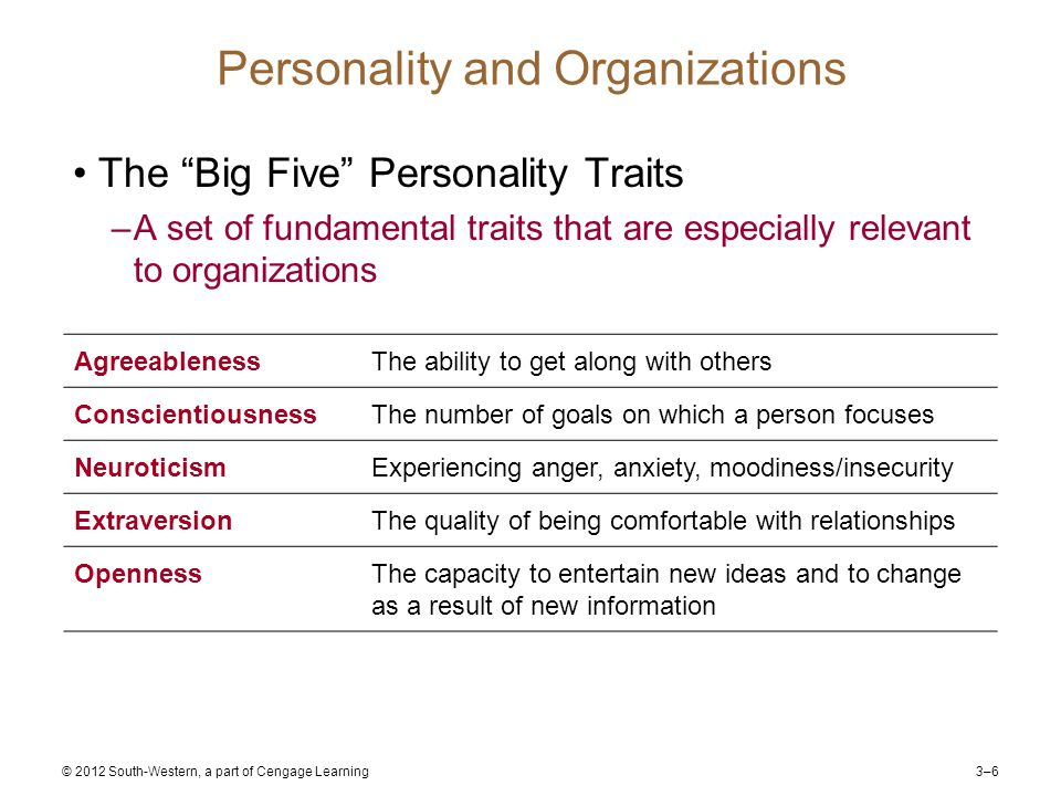 3–6 © 2012 South-Western, a part of Cengage Learning Personality and Organizations The Big Five Personality Traits –A set of fundamental traits that are especially relevant to organizations AgreeablenessThe ability to get along with others ConscientiousnessThe number of goals on which a person focuses NeuroticismExperiencing anger, anxiety, moodiness/insecurity ExtraversionThe quality of being comfortable with relationships OpennessThe capacity to entertain new ideas and to change as a result of new information