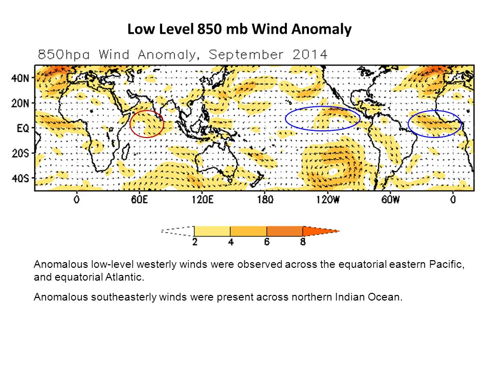 Low Level 850 mb Wind Anomaly Anomalous low-level westerly winds were observed across the equatorial eastern Pacific, and equatorial Atlantic.