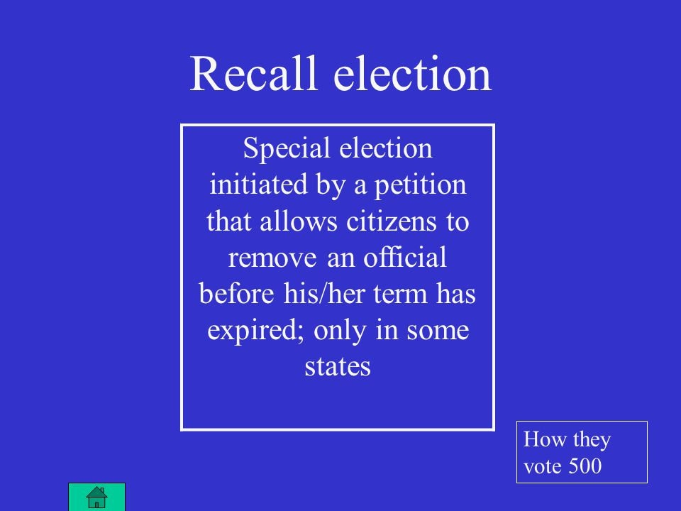 Special election initiated by a petition that allows citizens to remove an official before his/her term has expired; only in some states Recall election How they vote 500