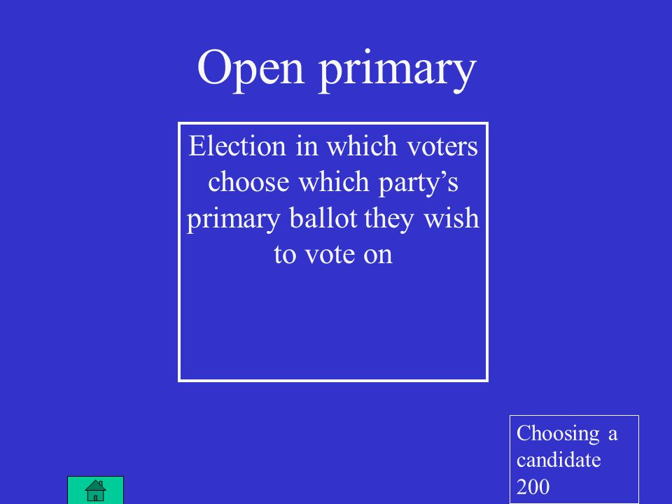 Election in which voters choose which party's primary ballot they wish to vote on Open primary Choosing a candidate 200