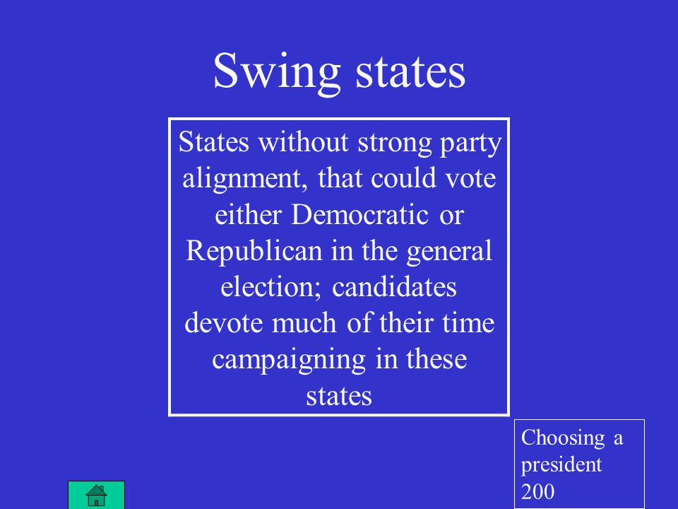 Swing states States without strong party alignment, that could vote either Democratic or Republican in the general election; candidates devote much of their time campaigning in these states Choosing a president 200