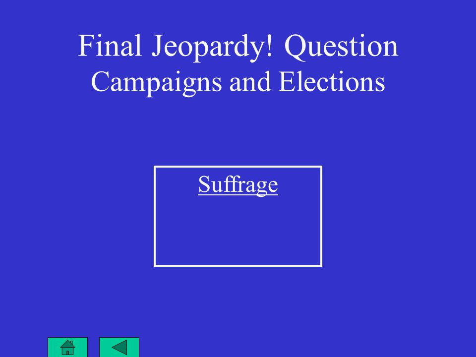 Final Jeopardy! Question Campaigns and Elections Suffrage