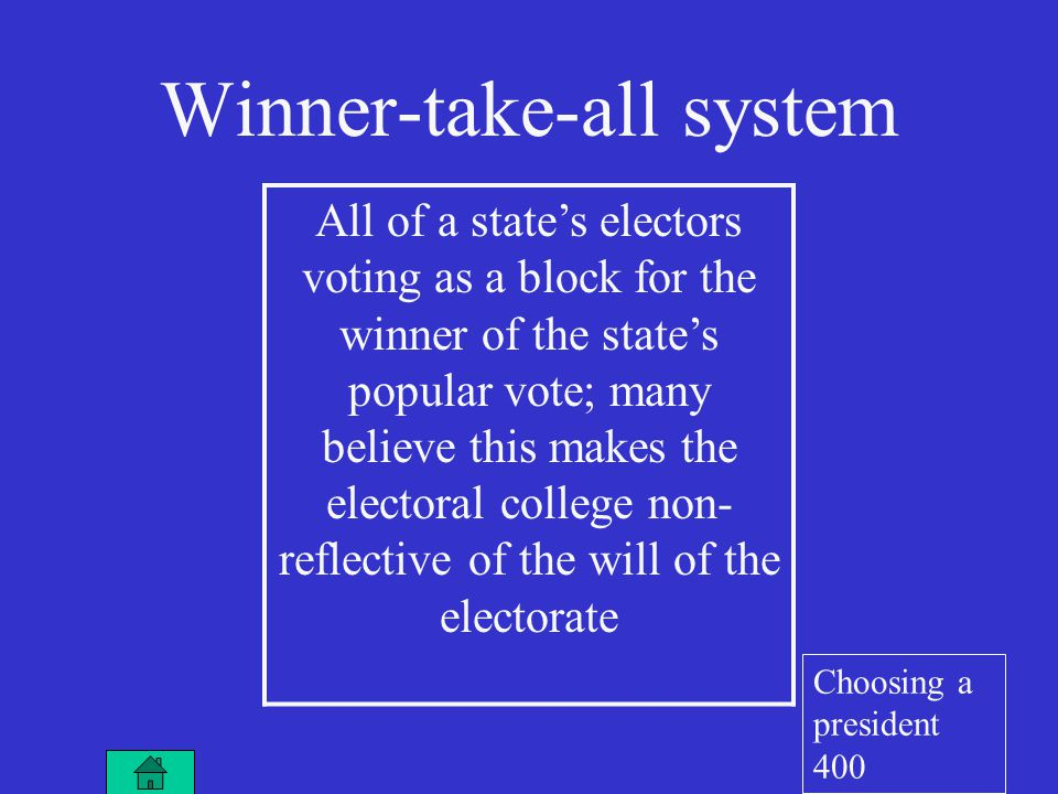 Winner-take-all system All of a state's electors voting as a block for the winner of the state's popular vote; many believe this makes the electoral college non- reflective of the will of the electorate Choosing a president 400