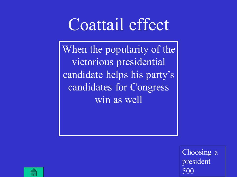 Coattail effect When the popularity of the victorious presidential candidate helps his party's candidates for Congress win as well Choosing a president 500