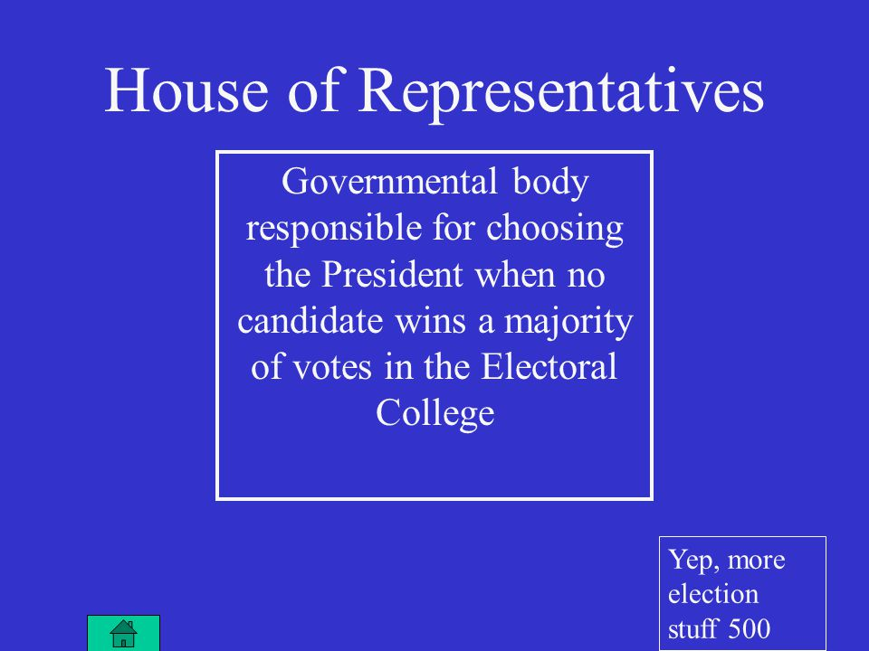 House of Representatives Governmental body responsible for choosing the President when no candidate wins a majority of votes in the Electoral College Yep, more election stuff 500