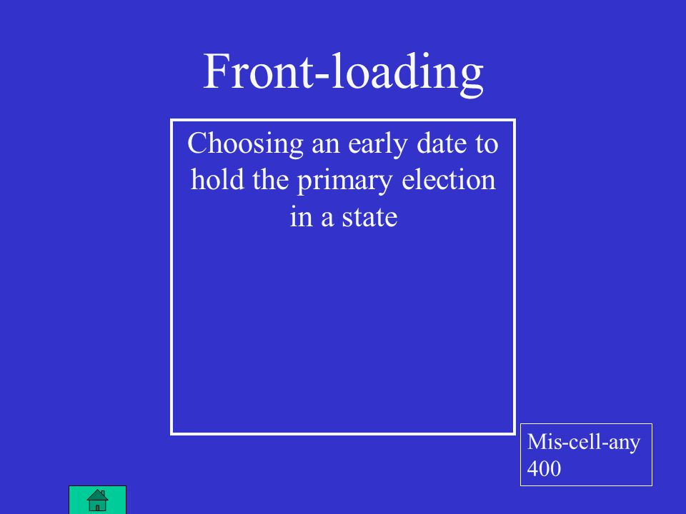 Front-loading Choosing an early date to hold the primary election in a state Mis-cell-any 400