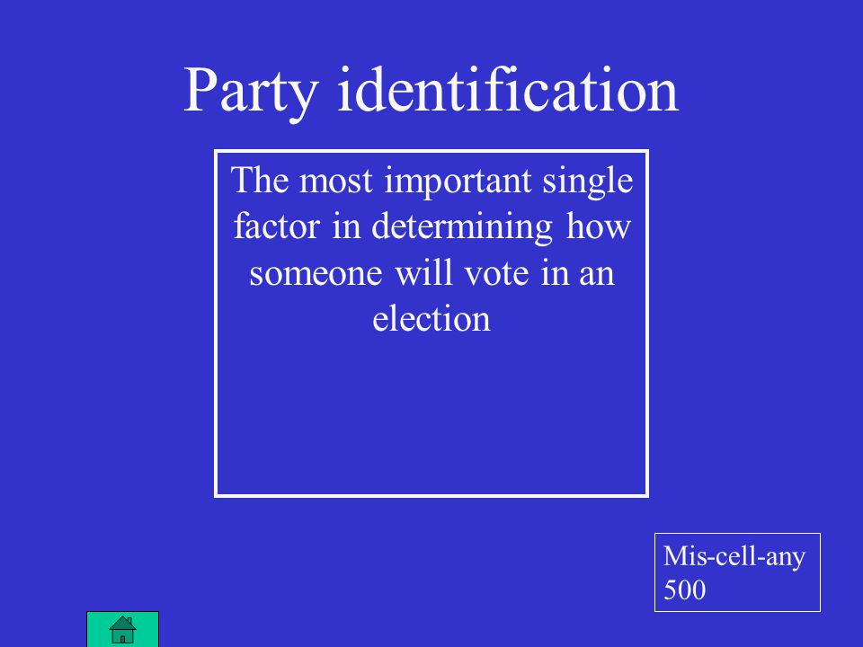 Party identification The most important single factor in determining how someone will vote in an election Mis-cell-any 500