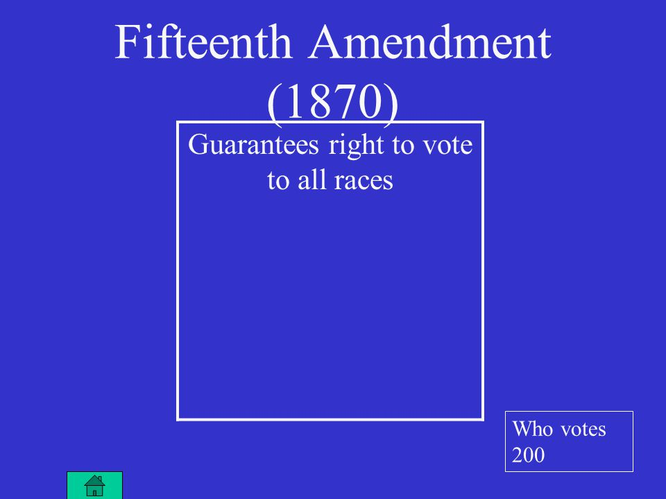 Guarantees right to vote to all races Fifteenth Amendment (1870) Who votes 200