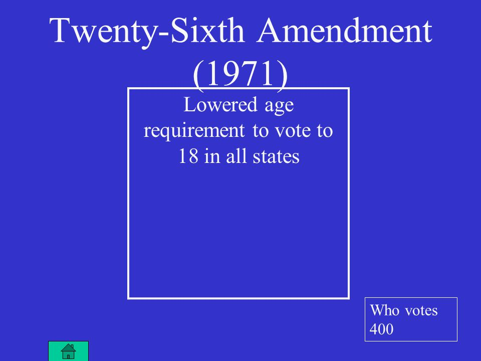Twenty-Sixth Amendment (1971) Lowered age requirement to vote to 18 in all states Who votes 400