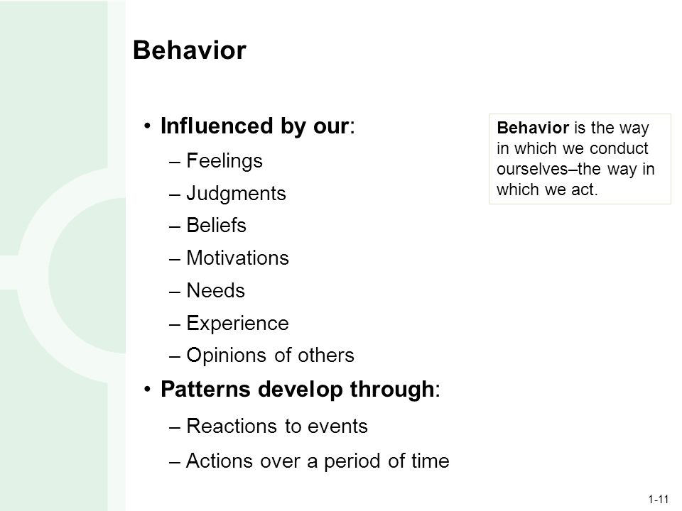 1-11 Behavior Influenced by our: –Feelings –Judgments –Beliefs –Motivations –Needs –Experience –Opinions of others Patterns develop through: –Reactions to events –Actions over a period of time Behavior is the way in which we conduct ourselves–the way in which we act.