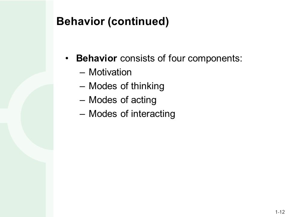 1-12 Behavior (continued) Behavior consists of four components: –Motivation –Modes of thinking –Modes of acting –Modes of interacting