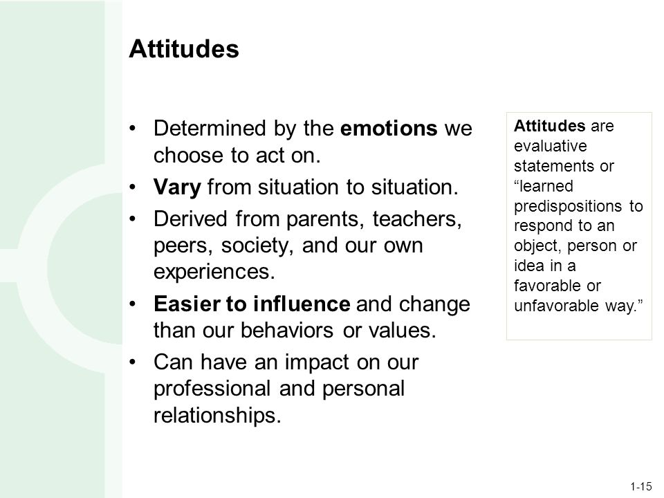1-15 Attitudes Determined by the emotions we choose to act on.