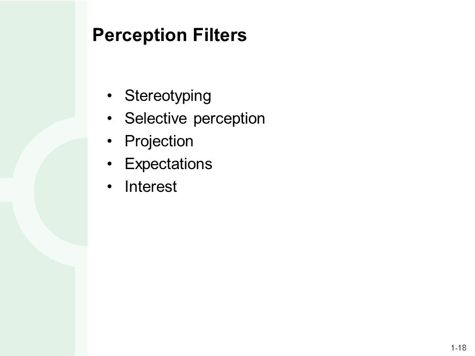 1-18 Perception Filters Stereotyping Selective perception Projection Expectations Interest