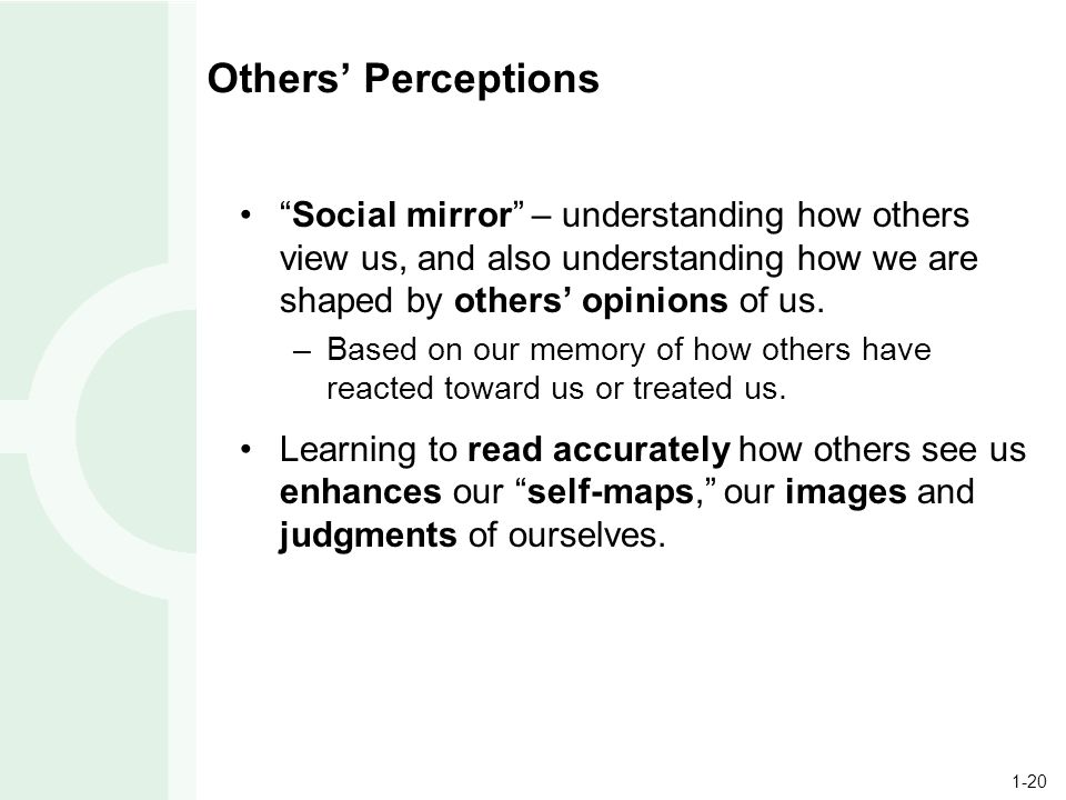 1-20 Others' Perceptions Social mirror – understanding how others view us, and also understanding how we are shaped by others' opinions of us.