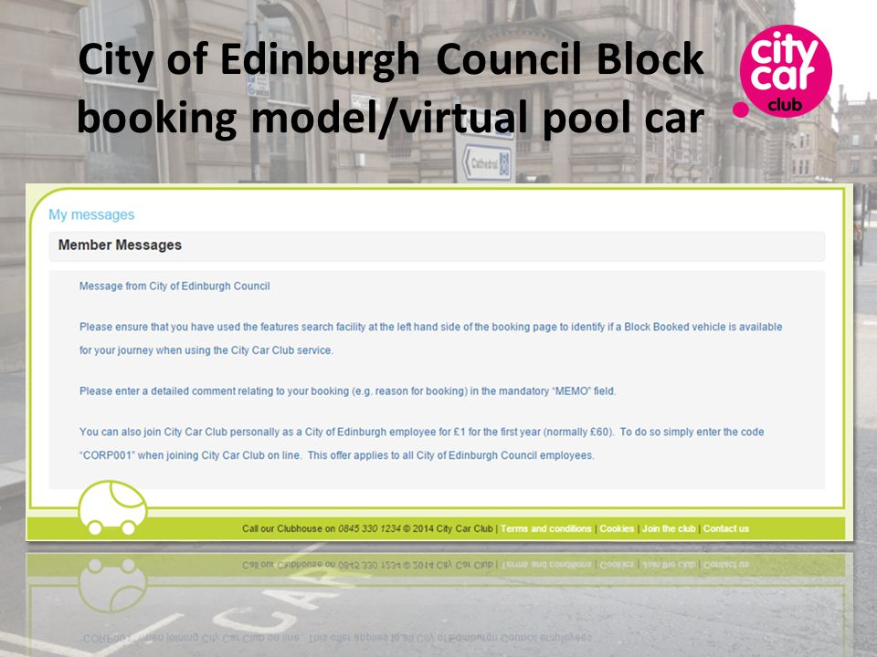 City of Edinburgh Council Block booking model/virtual pool car
