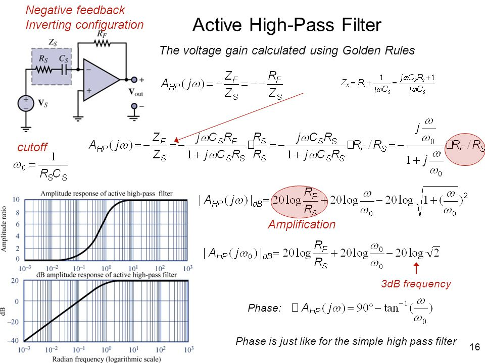 16 Active High-Pass Filter Phase is just like for the simple high pass filter The voltage gain calculated using Golden Rules Negative feedback Inverting configuration cutoff 3dB frequency Phase: Amplification