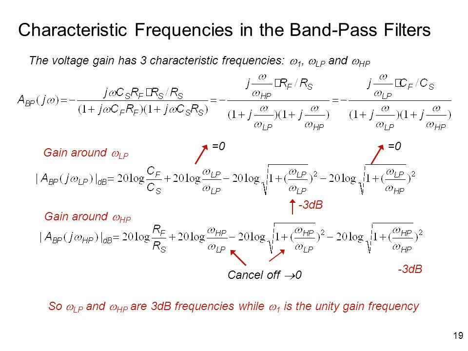 19 Characteristic Frequencies in the Band-Pass Filters Cancel off  0 -3dB So  LP and  HP are 3dB frequencies while  1 is the unity gain frequency The voltage gain has 3 characteristic frequencies:  1,  LP and  HP Gain around  LP Gain around  HP =0=0=0=0