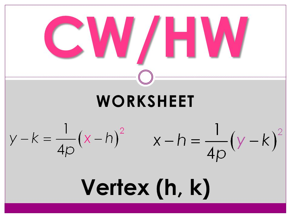 WORKSHEET CW/HW Vertex (h, k)