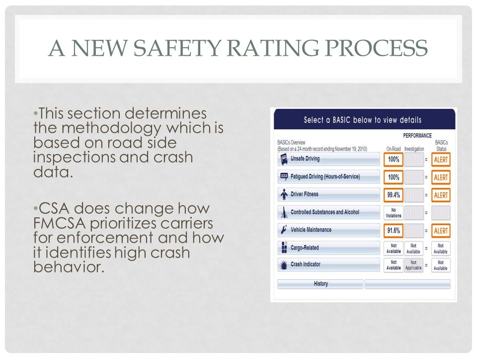 A NEW SAFETY RATING PROCESS This section determines the methodology which is based on road side inspections and crash data.