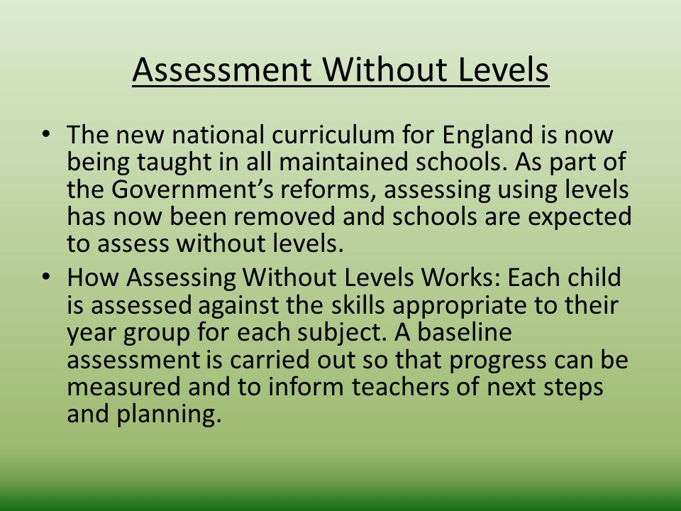 Assessment Without Levels The new national curriculum for England is now being taught in all maintained schools.