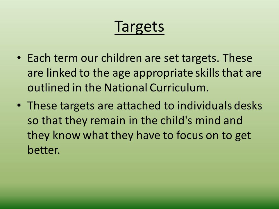 Targets Each term our children are set targets.