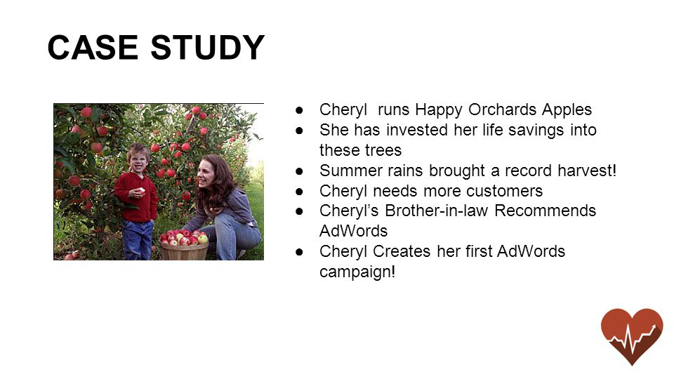 ●Cheryl runs Happy Orchards Apples ●She has invested her life savings into these trees ●Summer rains brought a record harvest.