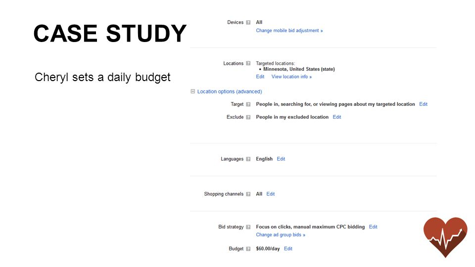 Cheryl sets a daily budget CASE STUDY