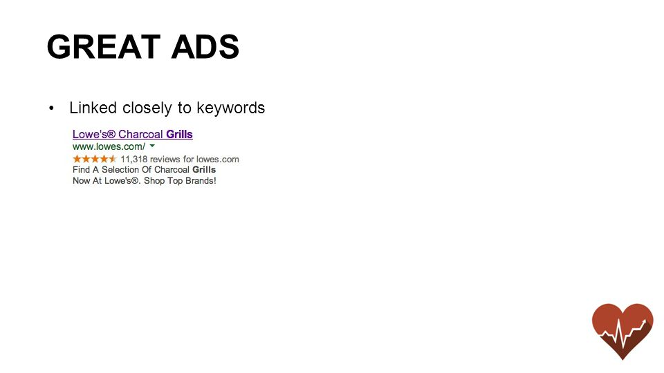 Linked closely to keywords GREAT ADS