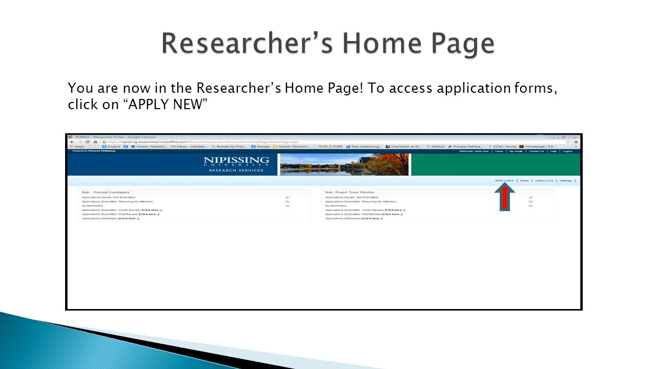 You are now in the Researcher's Home Page! To access application forms, click on APPLY NEW