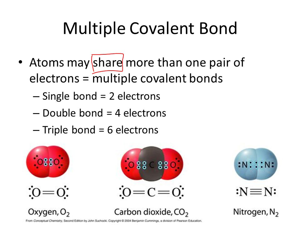 Multiple Covalent Bond Atoms may share more than one pair of electrons = multiple covalent bonds – Single bond = 2 electrons – Double bond = 4 electrons – Triple bond = 6 electrons