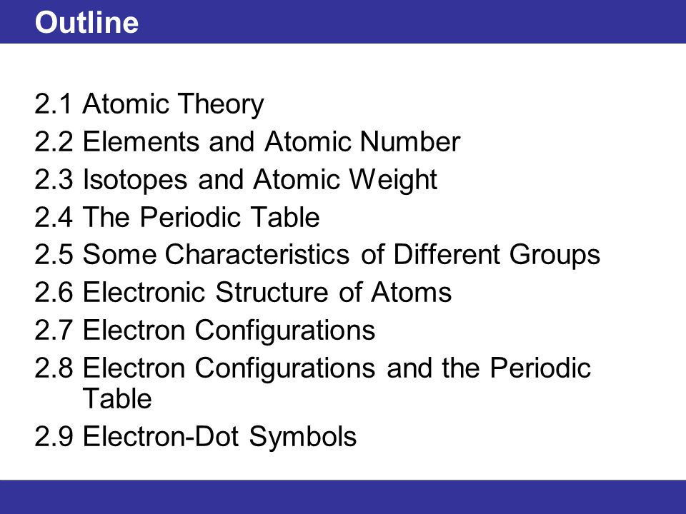 Outline 21 atomic theory 22 elements and atomic number 23 1 outline 21 atomic theory 22 elements and atomic number 23 isotopes and atomic weight 24 the periodic table urtaz Images