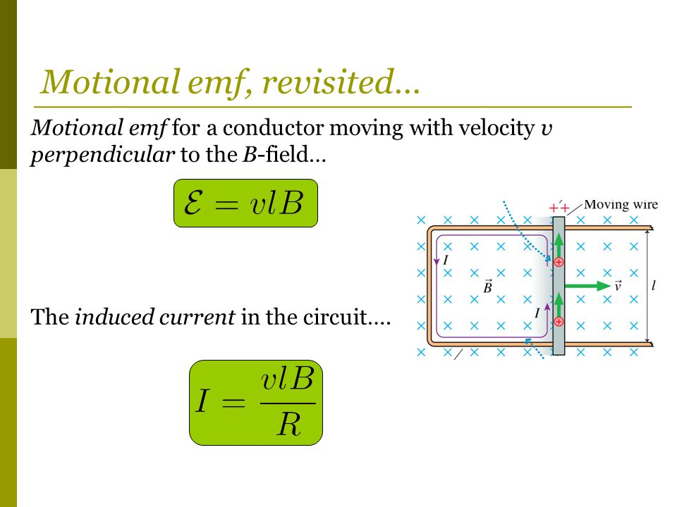 Motional emf for a conductor moving with velocity v perpendicular to the B-field… The induced current in the circuit….