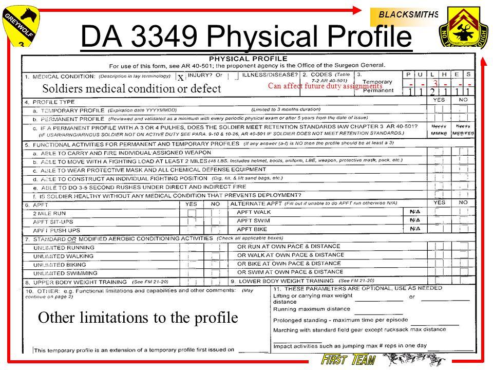 blacksmiths army physical profiles instructor: ssg clausen b fmc 215