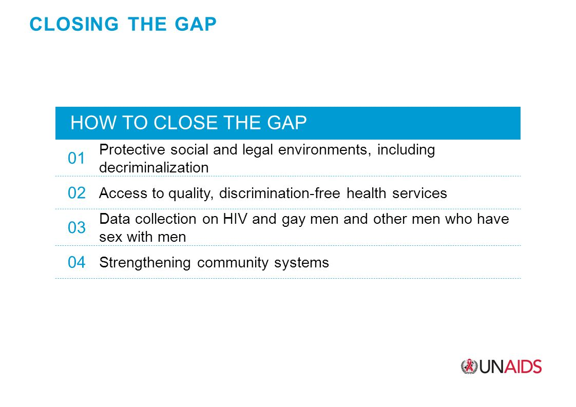 CLOSING THE GAP HOW TO CLOSE THE GAP 01 Protective social and legal environments, including decriminalization 02 Access to quality, discrimination-free health services 03 Data collection on HIV and gay men and other men who have sex with men 04 Strengthening community systems
