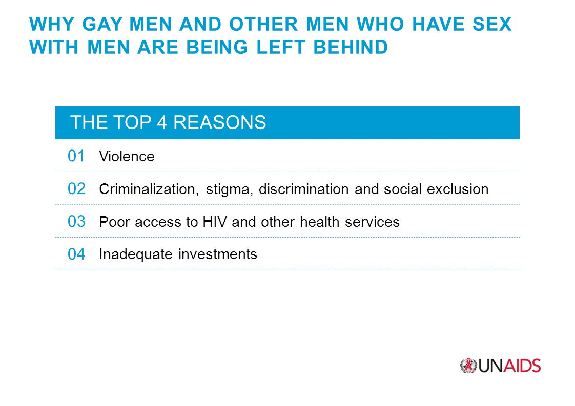 WHY GAY MEN AND OTHER MEN WHO HAVE SEX WITH MEN ARE BEING LEFT BEHIND THE TOP 4 REASONS 01 Violence 02 Criminalization, stigma, discrimination and social exclusion 03 Poor access to HIV and other health services 04 Inadequate investments