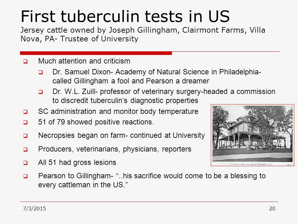 First tuberculin tests in US Jersey cattle owned by Joseph Gillingham, Clairmont Farms, Villa Nova, PA- Trustee of University  Much attention and criticism  Dr.
