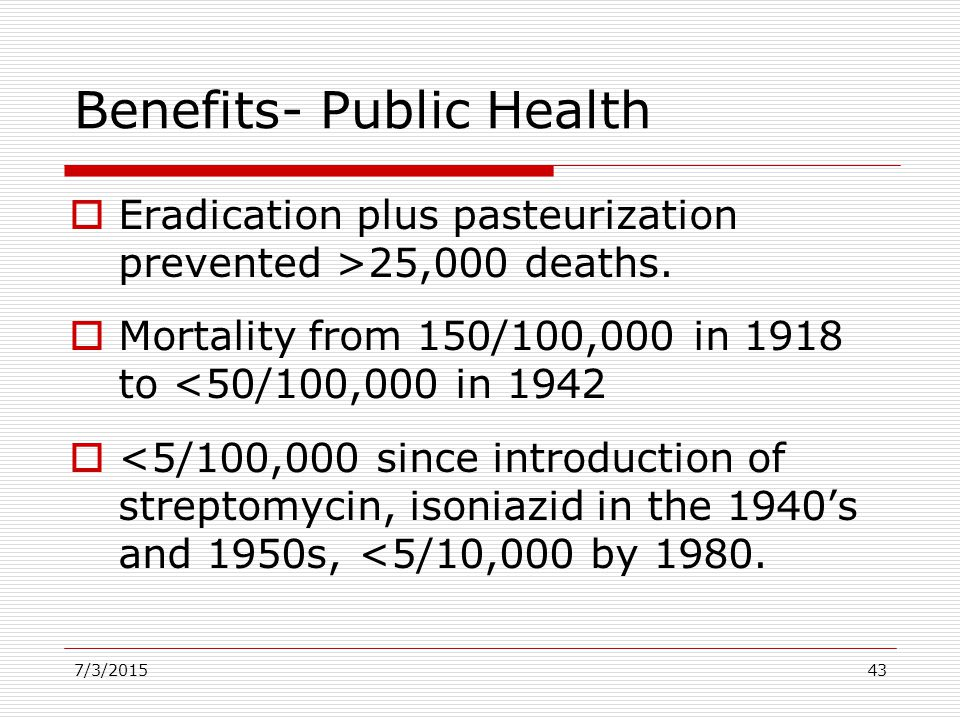 Benefits- Public Health  Eradication plus pasteurization prevented >25,000 deaths.